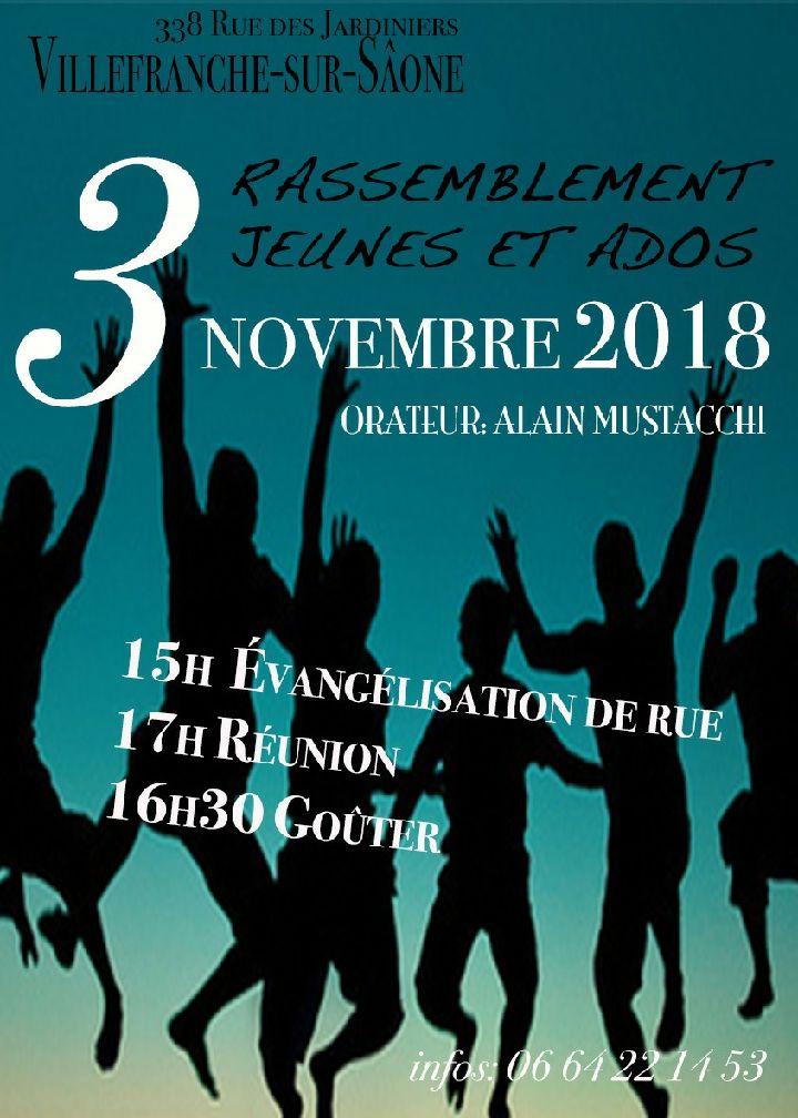 Rencontre jeunes et ados à Villefranche-sur-Saône le 3 novembre 2018